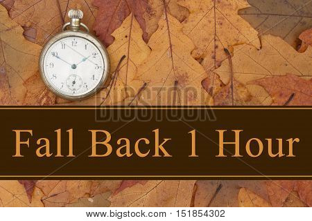 Daylight Savings Time message Some fall leaves and retro pocket watch with text Fall Back 1 Hour