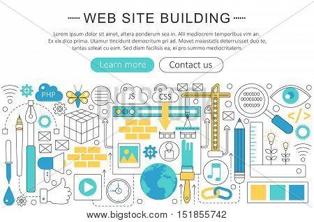 Vector elegant thin line flat modern website building concept. Website header banner elements layout. Presentation, flyer and poster