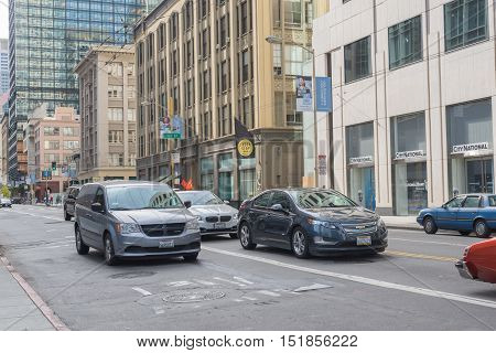 SAN FRANCISCO USA - OUT 13 2016:Traffic in Financial District of San Francisco. San Francisco has a diversified economy with wide range of professional services including finance tourism and high tech.