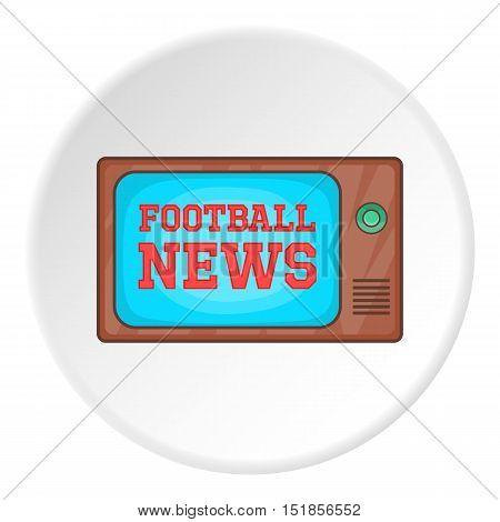 Football news on TV icon. Cartoon illustration of football news on TV vector icon for web