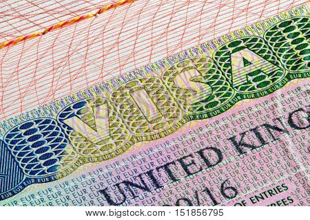United Kingdom visa stamp on passport page