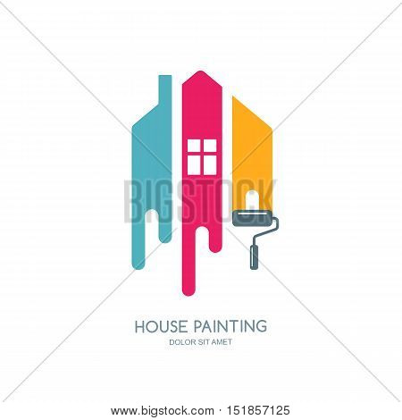 House painting service decor and repair multicolor icon. Vector logo label emblem design. Concept for home decoration building house construction and staining.