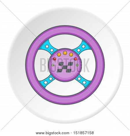Steering wheel icon. Cartoon illustration of steering wheel vector icon for web