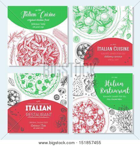Italian food vintage design template. Square banners set. Vector illustration hand drawn linear art. Italian Cuisine restaurant menu. Hand drawn sketch vector banners.