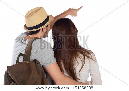 Back view of a traveling young couple and looking up. Travel concept. Isolated white background.