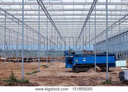 Modern greenhouse at the beginning of the process of construction.