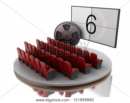 3d renderer image. Cinema movie theater with film reel. Isolated white background.
