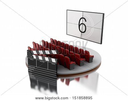3d renderer image. Cinema movie theater with cinema clap. Isolated white background.