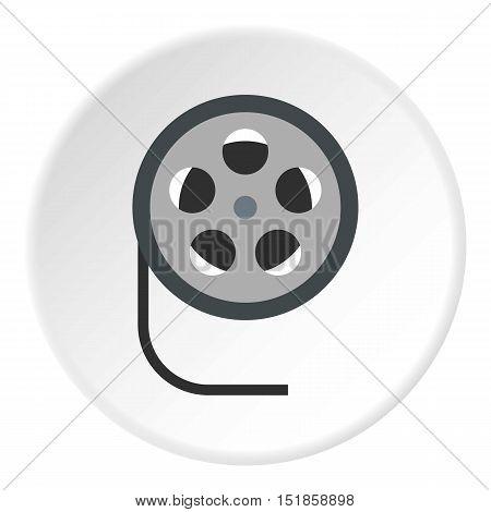 Film reel icon. Flat illustration of film reel vector icon for web design