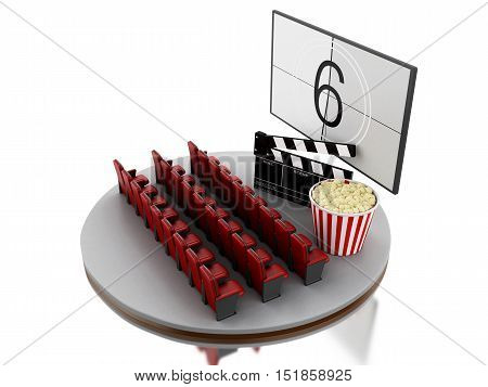 3d renderer image. Cinema movie theater with popcorn and cinema clap. Isolated white background.