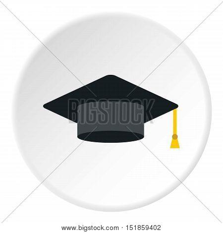 Graduation cap icon. Flat illustration of cap vector icon for web design