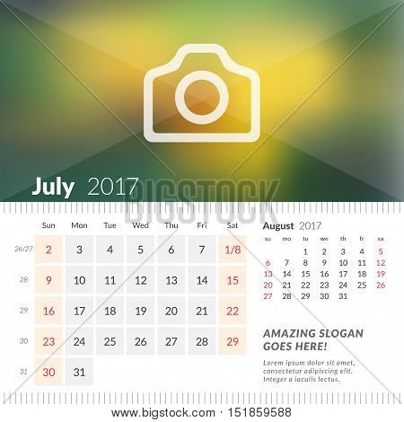 July 2017. Desk Calendar For 2017 Year. Week Starts Sunday. 2 Months On Page. Vector Design Print Te