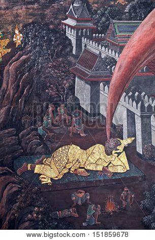 Mural Painting In Thai Style In Wat Phra Kaew In Bangkok, Thailand