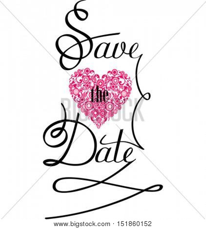 Save the Date. Text Design. Vector illustration.