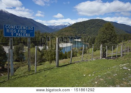 Confluence of the rivers Frio and Palena along the Carretera Austral in Chilean Patagonia.