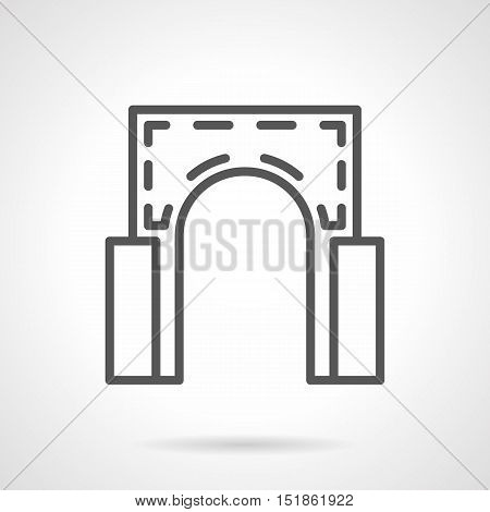 Element of classic architecture. Semicircular arch with columns. Decoration structure for facades, entrances, bridges, gateway. Black simple line style vector icon.