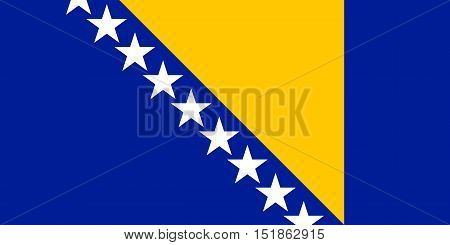 Bosnian and Herzegovinian national official flag. Patriotic symbol banner element background. Accurate dimensions. Flag of Bosnia and Herzegovina in correct size and colors vector illustration