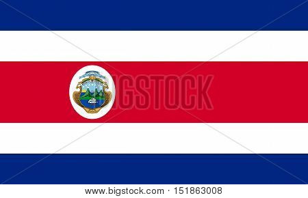 Costa Rican national official flag. Patriotic symbol banner element background. Accurate dimensions. Flag of Costa Rica in correct size and colors vector illustration