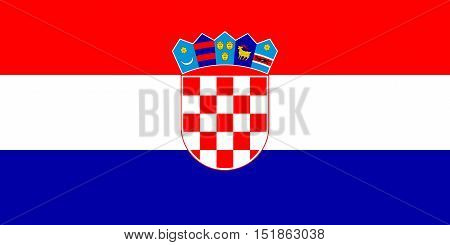 Croatian national official flag. Patriotic symbol banner element background. Accurate dimensions. Flag of Croatia in correct size and colors vector illustration