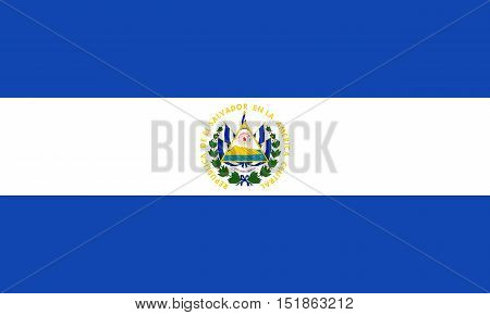 Salvadoran national official flag. Patriotic symbol banner element background. Accurate dimensions. Flag of El Salvador in correct size and colors vector illustration
