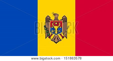 Moldovan national official flag. Patriotic symbol banner element background. Accurate dimensions. Flag of Moldova in correct size and colors vector illustration