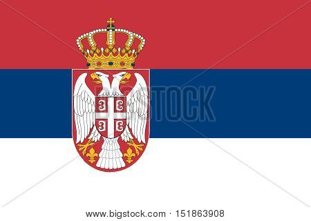 Serbian national official flag. Patriotic symbol banner element background. Accurate dimensions. Flag of Serbia in correct size and colors vector illustration