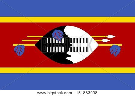Swazi national official flag. Patriotic symbol banner element background. Accurate dimensions. Flag of Swaziland in correct size and colors vector illustration