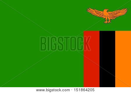 Zambian national official flag. African patriotic symbol banner element background. Accurate dimensions. Flag of Zambia in correct size and colors vector illustration