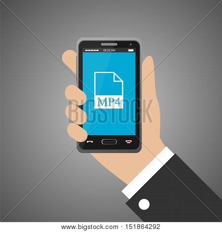 Hand holding smartphone with mp4 icon on gray background