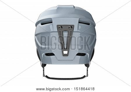 Helmet ski sportswear protection, back view. 3D graphic