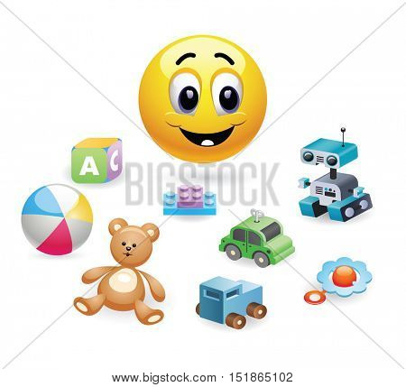 Child playing with toys. Illustration of a smiley baby playing. Set of different toys for children.