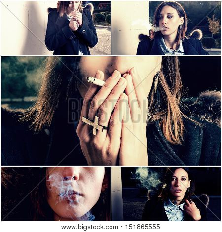 oung woman smoker. Bad habit concept collage of vintage toned images