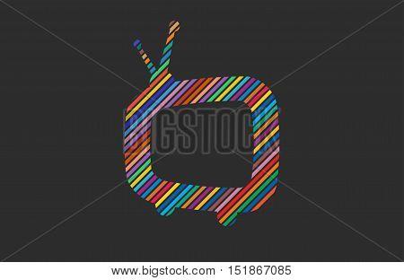 Tv symbol. retro tv logo. color tv logo design