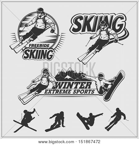 Skiing set. Silhouettes of skiers and snowboarders, ski emblems, emblems and labels.