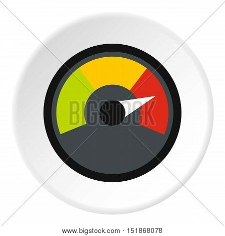 Speedometer at maximum speed icon. Flat illustration of speedometer at maximum speed vector icon for web