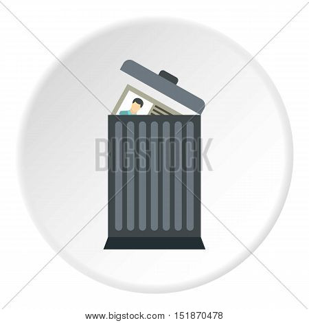 Summary in trash icon. Flat illustration of summary in trash vector icon for web