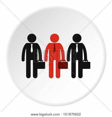 Three employees icon. Flat illustration of three employees vector icon for web