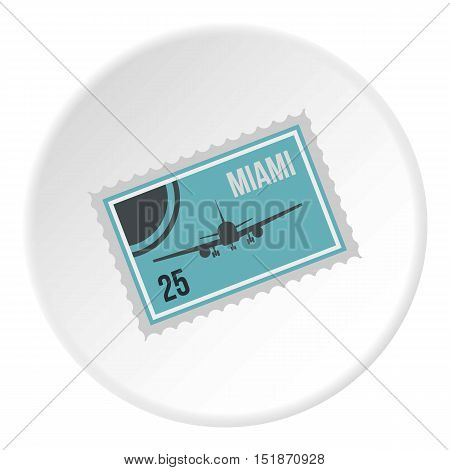 Air ticket to Miami icon. Flat illustration of air ticket to Miami vector icon for web