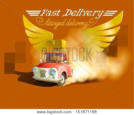 Delivery Concept, Express Delivery, delivery man. Cartoon 3d vector isometric illustration. Isometric car. Delivery car. Gold wings