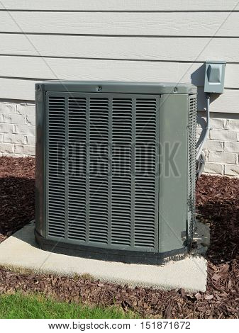 AC unit connected to the residential house