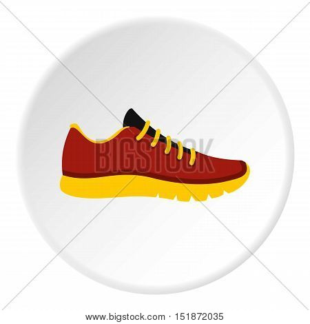 Red sneakers with yellow sole icon. Flat illustration of red sneakers with yellow sole vector icon for web