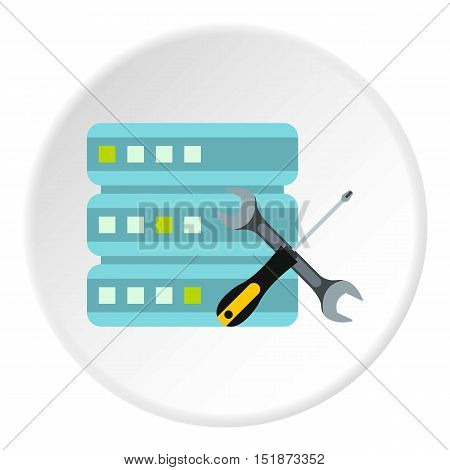 Configuring cells for data storage icon. Flat illustration of configuring cells for data storage vector icon for web