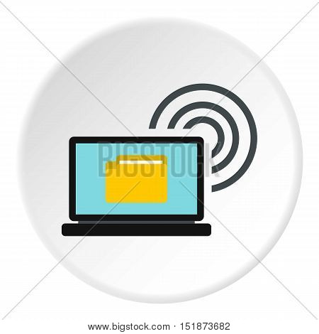 Distribution of files over internet icon. Flat illustration of distribution of files over internet vector icon for web