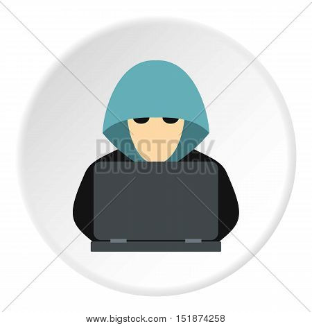 Hacker behind computer icon. Flat illustration of hacker behind computer vector icon for web