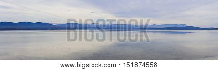 Minimalistic Tranquil Panorama Of Water And Mountains, Tasmania