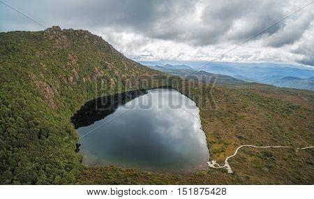 Aerial Panorama Of Lake Esperance, Hartz Mountains National Park, Tasmania