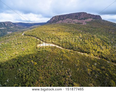 Aerial View Of Mountains And Forest Above Highland Lakes Road, Liffey, Tasmania