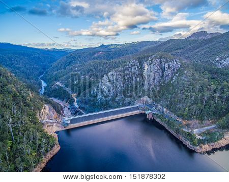 Beautiful Cethana Lake And Dam Aerial View. Cethana, Tasmania