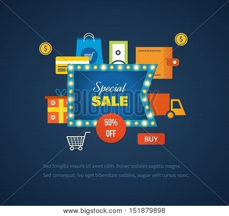 Concept of special sales, special offers, promotions, discounts. Super Sale banner on colorful background. Vector illustration.