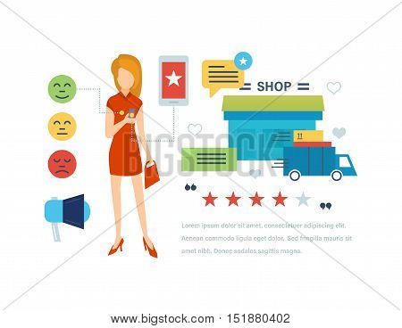 Concept illustration of customer testimonials. Girl leaves a review and rating of in a mobile application of the online store. Editable Stroke. Vector illustration.